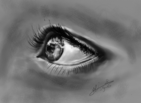 Eye Pencil Drawing Side Angle